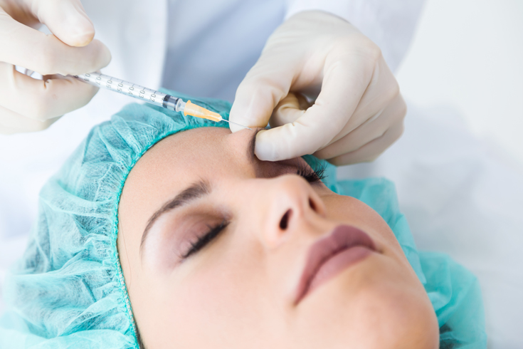 Beautiful Young Woman Getting Botox Cosmetic Injection Her Face
